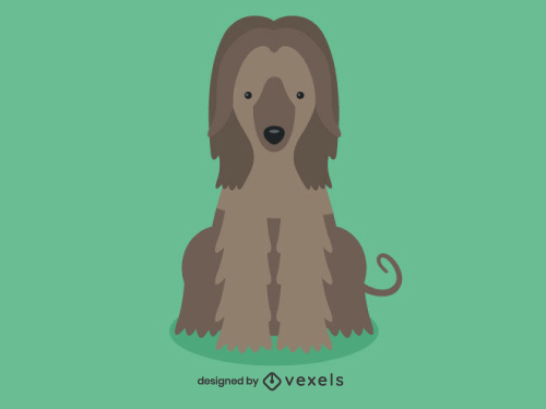 Afghan Hound Cute Dog Illustration