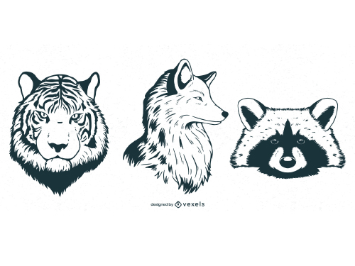 Animal Head Drawing Outline Pack