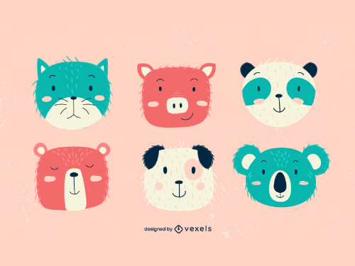 Animal Heads Cute Baby Style Pack