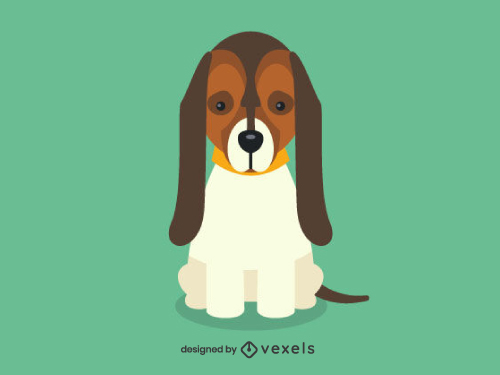 Basset Hound Cute Dog Illustration