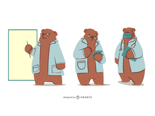 Cute Bear Animal Doctor Cartoon Set