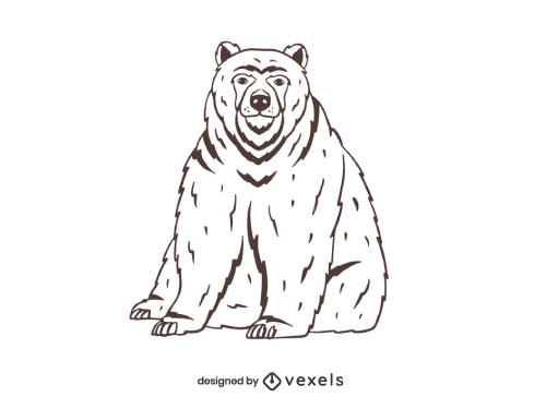 Grizzly Bear Drawing Outline Hand Drawn