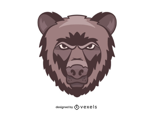 Grizzly Bear Head Shield Logo