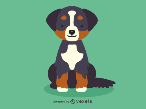 Bernese Mountain Cute Dog Illustration