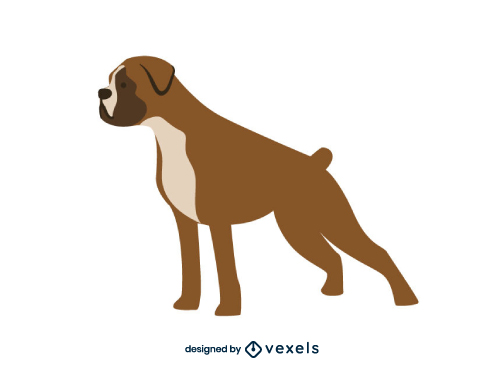 Boxer Dog Flat Cartoon Breed