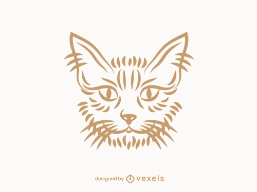 Cat Head Outline Logo Line Art
