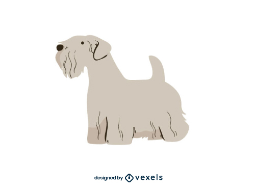 Cesky Terrier Dog Flat Cartoon Breed