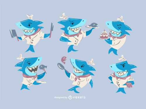 Shark cooking chef character set