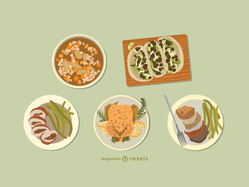 Chicken Food Dish Flat Illustration Pack