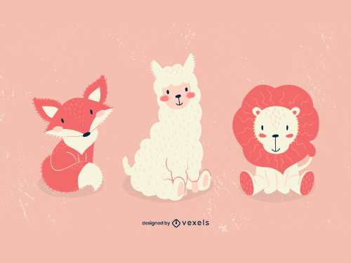Cute Baby Animals Llama Fox Lion