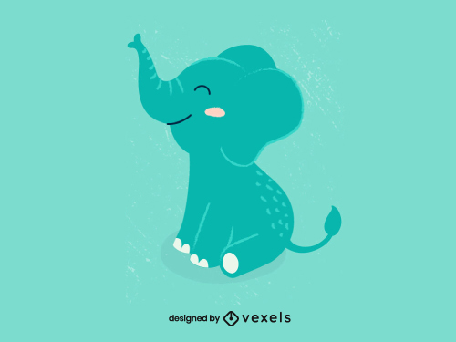 Childish Cute Elephant Animal