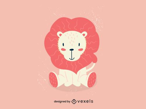 Childish Cute Lion Animal