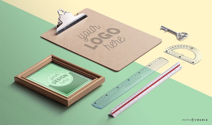 Clipboard Tools Desk Mockup