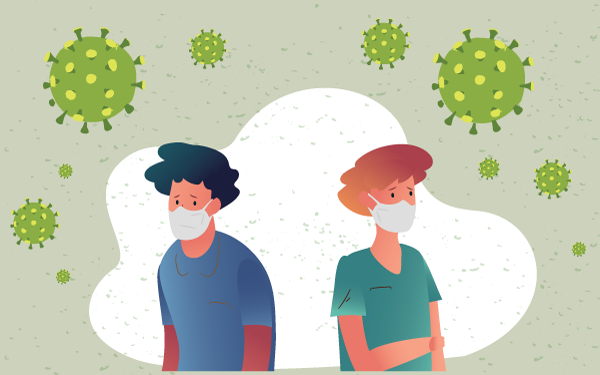 Man and Woman with Coronavirus Mask Social Distancing