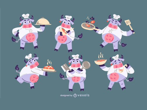 Cow Chef Cook Character Set