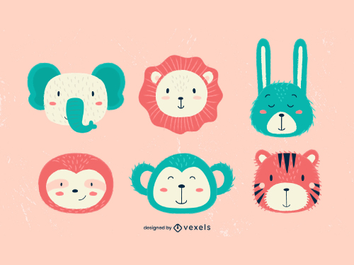 Cute Animal Heads Kid Style Set