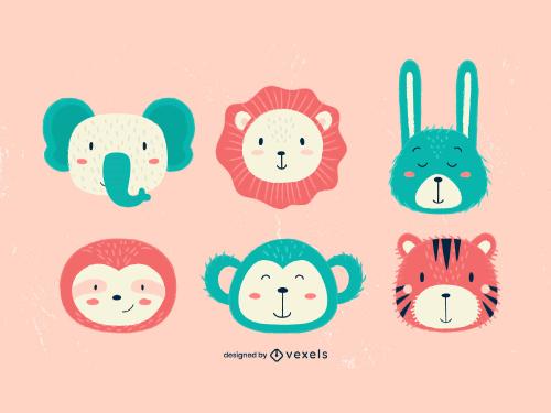 Cute Animal Heads Kid Style Set