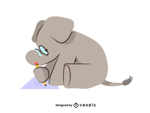 Little Elephant with Glasses Writing