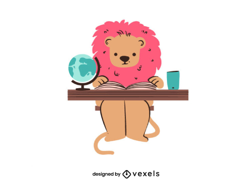 Cute Lion Reading Back To School