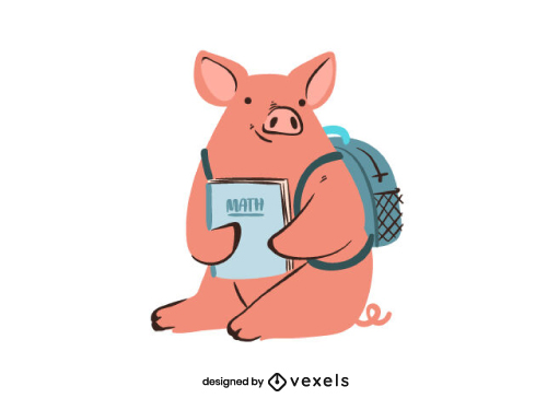 Little Pig With Backpack and Book