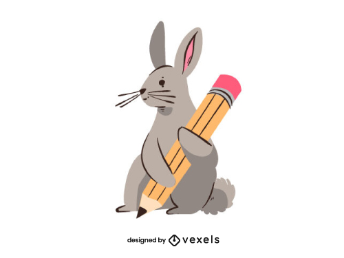 Little Rabbit with a Pencil Studying