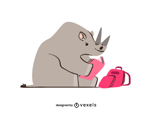 Cute Rhino Reading Back To School