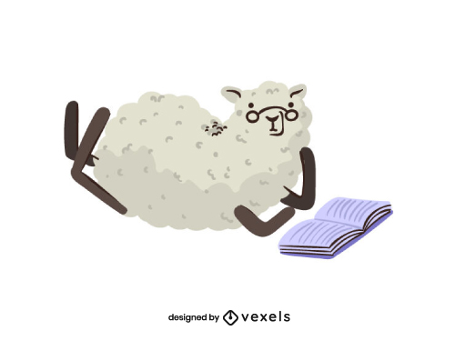 Cute Sheep Animal Reading Back To School