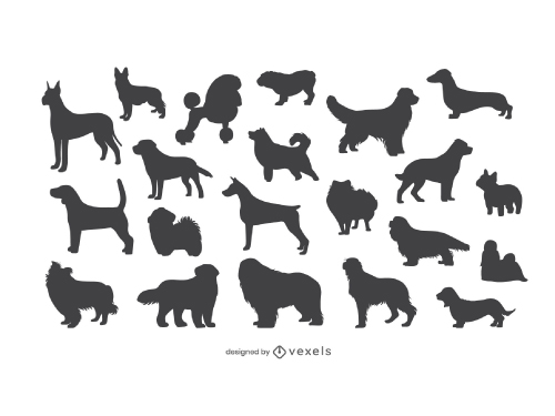 Set of Dog Breeds Silhouettes