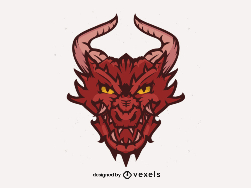 Sports Team Angry Dragon Head Flat Logo