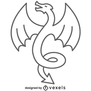 fantasy,dragon,mythical creature,black and white,mythology,line icon,bw,icon,stroke,animal,symbol