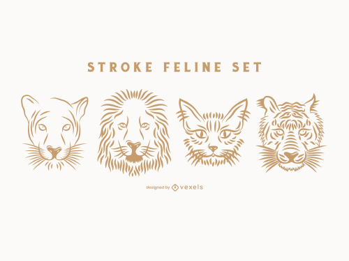 Feline Head Line Art Outline Pack Logo