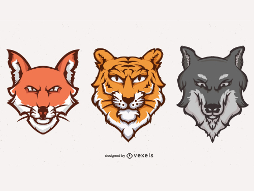 Fierce Animals Heads Team Logo Pack