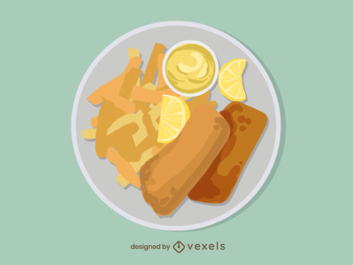 Fish And Chips Food Illustration
