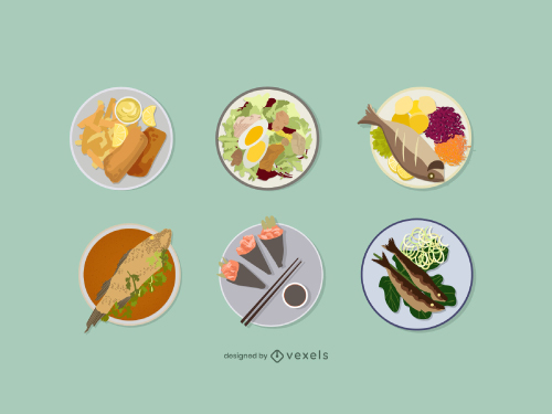 Fish Food Dish Flat Illustration Set