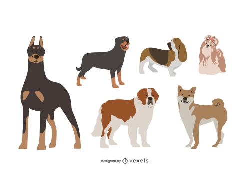 Flat Style Dog Pet Breeds Set