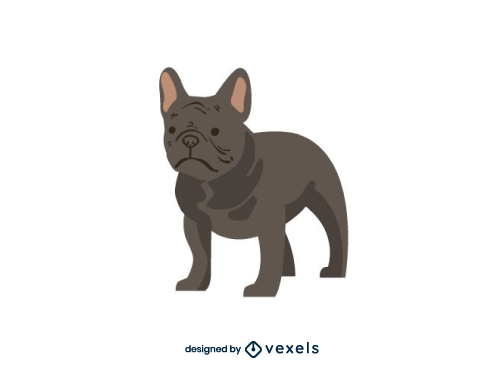 French Bulldog Dog Flat Cartoon Breed