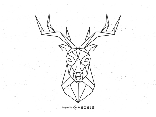 Geometric Deer Head Polygonal Logo