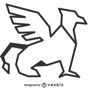 mythical,griffin,creature,line art,bw,mythology,stroke,geometric,gryphon,polygonal,animal,fantasy,symbol,black and white
