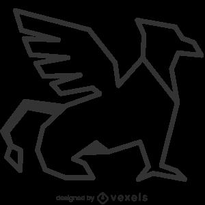 mythical,griffin,creature,line art,bw,mythology,stroke,geometric,gryphon,polygonal,animal,fantasy,symbol,black and white