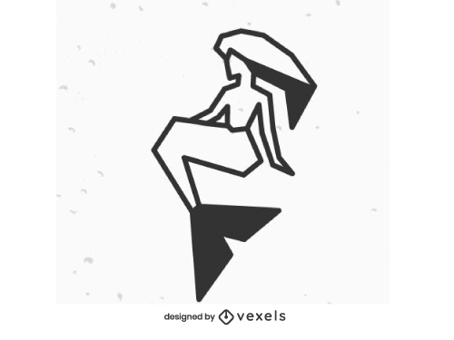 Mermaid Geometric Stroke Logo