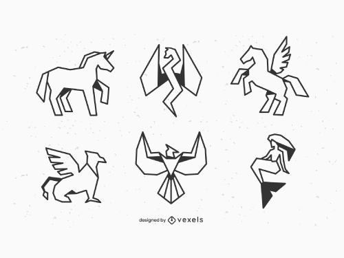 Geometric Mythical Creatures Outline Pack