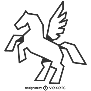 mythical,pegasus,creature,line art,bw,mythology,stroke,geometric,polygonal,animal,fantasy,symbol,black and white