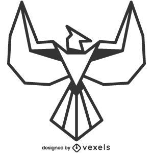mythical,phoenix,creature,line art,bw,mythology,stroke,geometric,polygonal,animal,fantasy,symbol,black and white