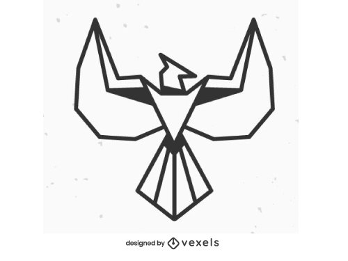 Geometric Phoenix Logo Outline