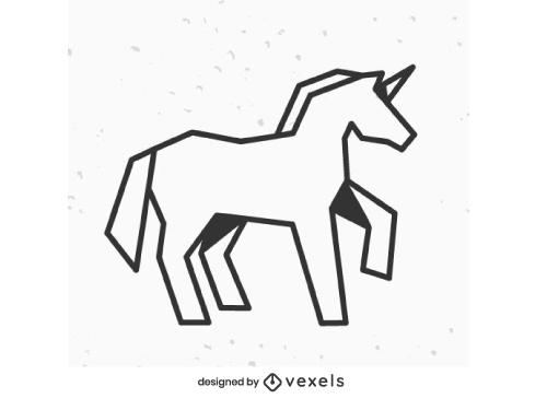 Geometric Unicorn Logo Outline