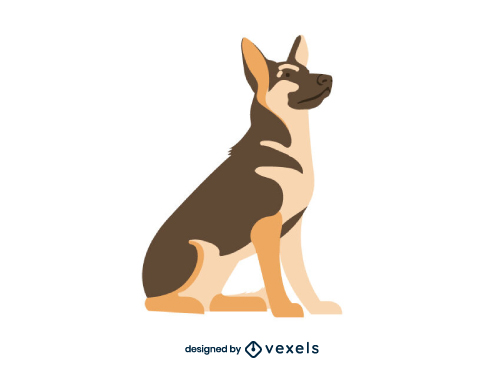 German Shepherd Breed Dog Illustration