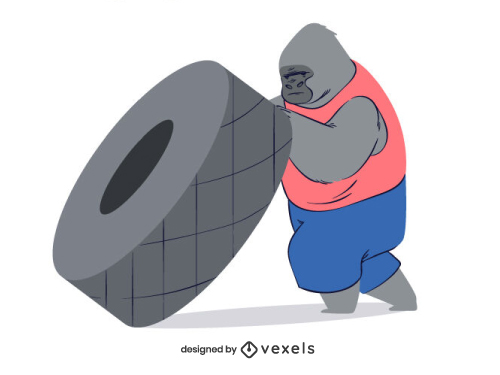 Gorilla Weight Lifting Tire Athlete Animal