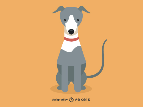 Greyhound Cute Dog Illustration