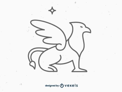 fantasy,griffin,mythical creature,black and white,mythology,line icon,bw,stroke,symbol,animal