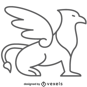 Griffin Line Icon Mythical Creature